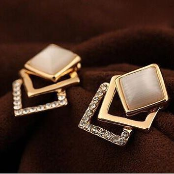 STYLEDOME OL Sparking Rhinestone 18KGP Geometry Square Opal Stud Earrings