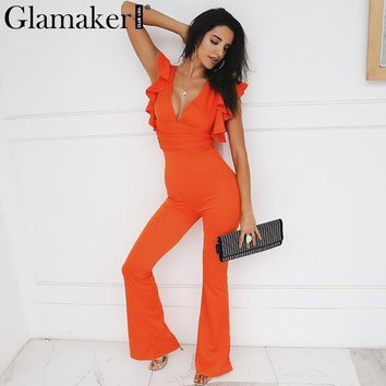 Glamaker Ruffle deep v neck Sexy jumpsuit Women romper knitted skinny winter elegant jumpsuits rompers Female playsuit overalls