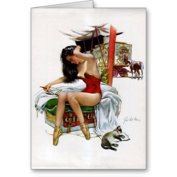 Circus Beauty Vintage Pin-Up Greeting Card