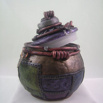 Whimsical Lidded Jar - Industrial, steampunk, metallic polymer clay