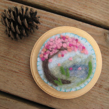 Cherry Blossom Pond Wool Painting, Needle felted painting, Textured painting, Nursery art, natural art, eco friendly art, eco friendly decor