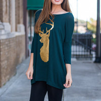 Frankly My Deer Top, Forest Green