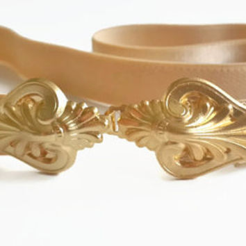 Vintage Style Nude Waist Belt - Gold buckle - Silver Buckle - Wedding Belt - bridesmaid Elastic Belt - Skinny Belt - maternity belt