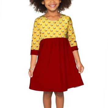 Go For Gold Gloria Empire Waist Party Dress - Girls