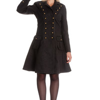 "Hell Bunny Victorian Steampunk Military Corset "" Imma"" Coat Gray"