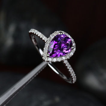 1.88ctw Pear Dark Purple Amethyst and Diamonds 14kt White Gold Engagement Ring