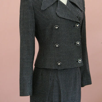 Two Piece Double Breasted Black and White Checkered Junior Skirt and Jacket Size 2P