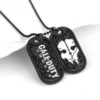 dongsheng Hip hop Jewelry Call Duty Ghosts Pattern Dog Tag Necklaces Charms Pendant Necklace Men's Jewellery collier-30