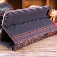Luxury Holy Bible Book Wallet Case For iPhone 6 / 6S Plus Elegant High Quality Leather Wallet Cover Matte Phone Holder Quality