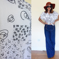 Vintage 80's novelty print graphic drawing white black button up doodle short sleeves shirt