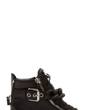 Giuseppe Zanotti Black Matte Curb Chain High-top Sneakers