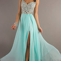Spaghetti Strap Floor Length Jewel Studded Dress