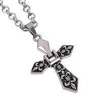 Dear Deer Fleur De Lis Cross Fashion Handmade Leather Pendant Necklace