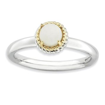 Sterling Silver & 14k Gold Stackable Expressions White Agate Polished Ring
