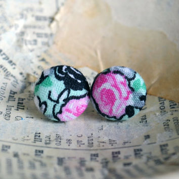 Fabric Button Earrings - Floral Earrings -Floral Mint Fabric - Pink Roses -Mint, Black and Pink Earrings - Mint Party Favors - Birthday Gift