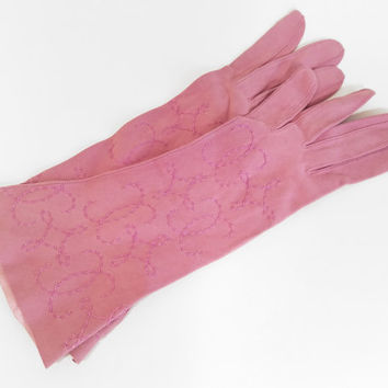 Vintage Suede Gloves Mauve Gloves Womens Gloves Vintage Gloves Soft Suede Gloves Lightweight Gloves Made in France Glove Size 5 1/2