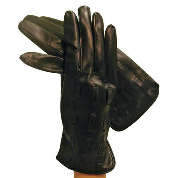 Black Men's Leather Gloves With Leather Inserts, Cashmere Lining
