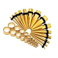 """28pcs 12G-1/2"""" Stainless Steel Tapers Set + Unscrew Double Flared Tunnels Kit"""