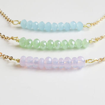 Gemstone Bar Necklace | Bar Necklace | Beaded Bar Necklace | Bead Bar Necklace | Layered Bar Necklace