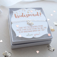 Be My Bridesmaid Lovebird Necklace
