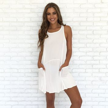 Sheer Bliss Cover-Up Dress In White