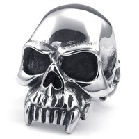 TEMEGO Jewelry Mens Stainless Steel Ring, Vintage Gothic Skull Band, Black Silver: Amazon.ca: Jewelry