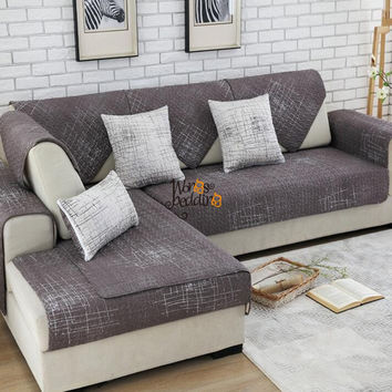 Sofa Slipcover,Fashion couch cover,Grey sofa cover modern style brown/beige Printing Soft Seat Couch Cover 1 piece Sofa Cover
