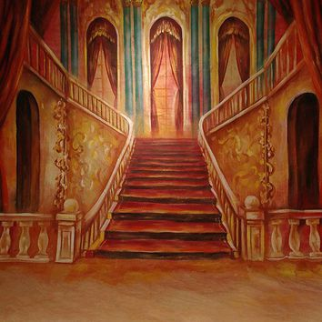 Printed Muslin Scenic Red Grand Deluxe Staircase Backdrop - 111-4