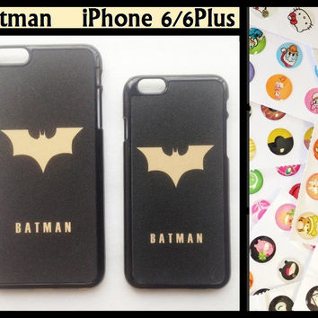 iPhone6 iPhone 6 Plus The Batman Hard Case Cover Back + Home Button Stickers Pack The Dark Knight Bat Logo Symbol iPhone6+ iPhone6Plus