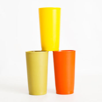 Vintage Harvest Tupperware Tumblers, 1970s Colors Short Tupper Ware Juice Cup Set, Yellow, Orange, Green 5 1/4 INCH