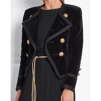 DCCKWQA HIGH QUALITY New Fashion 2016 Fall Winter Designer Jacket Women's Double Breasted Velour Blazer Outer Wear