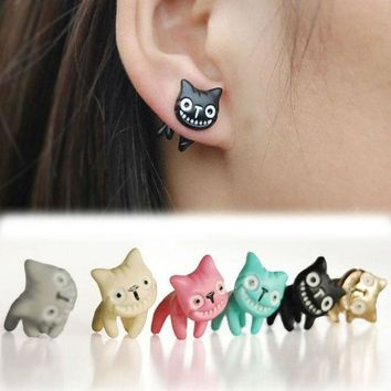 LMFUG3 1pc Mystic Lovely Cute Cat Ear Stud Womens Mens Piercing Earring Alloy Multi-Colors Jewelry