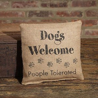 "Small Burlap Dogs Welcome Pillow (8x8"")"
