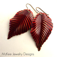 Red glitter and Bronze leaf earrings. Woodland, Nature earrings.