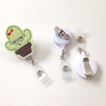 Cactus Badge Reel, Nerdy Cactus ID Clip, Kawaii Cactus Badge Clip, Teacher Gift, Nurse Gift, Name Badge Holder, Feltie Badge, Medical Badge