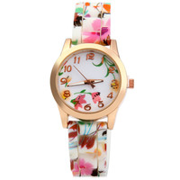 Pink and Green Floral Printed Watch