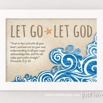 Let Go Let God - Proverbs 3:5-6 - 5x7 Framed Print - Bible Verse Christian Art