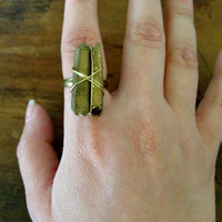 Wired Wrapped Quartz Crystal Ring, Adjustable Ring, Statement Ring, Cocktail Ring