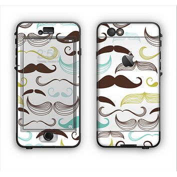 The Fashion Mustache Variety On White Apple iPhone 6 Plus LifeProof Nuud Case Skin Set