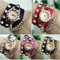 Women's  Hawaiian Sparkling Rhinestone Long Leather Sling Chain Quartz Wrist Watch = 1956436420