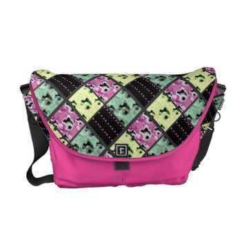 Patchwork Graphic Art Messenger Bag