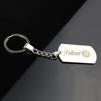 Hot Sell 5*2.8*0.1CM Laser Logo Stainless Steel Keychain Game Fallout 76 Personalized Keychain High Quality Gifts For Friends
