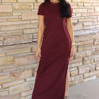Good Company Dress: Burgundy