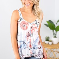 Floral Twist Knot Top- Ivory