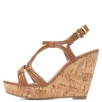 Strappy Cork Platform Wedges by Charlotte Russe