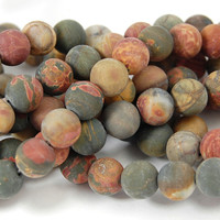 Matte Red Creek Jasper 6mm smooth round -15 inch strand
