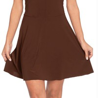 Basic Skater Dress Ad Brown