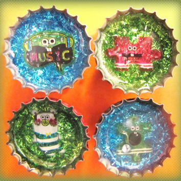 Upcycled Bottle Cap Magnets Resin Handmade Kawaii Puzzle Music Blue Green Recycled Reclaimed Repurposed Eco Friendly Ceramic Magnet