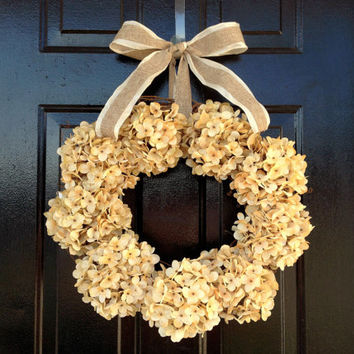Cream hydrangea wreath. fall wreath. fall door wreath. wedding decor. front door wreath.