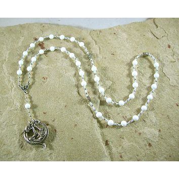Skadhi Prayer Bead Necklace in White Alabaster: Norse Goddess of Winter and the Wilderness